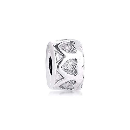 LIIHVYI Pandora Charms para Mujeres Cuentas Plata De Ley 925 Fila De Corazones Tal DIY Jewelry Fem Compatible con Pulseras Europeos Collars