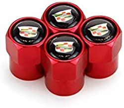JDclubs 4pcs Universal Metal Valve Caps Stem Cover Accessories with Logo Emblem Waterproof Dust-Proof Universal fit for Cars, SUV, Truck, Motorcycles (fit Cadillac)