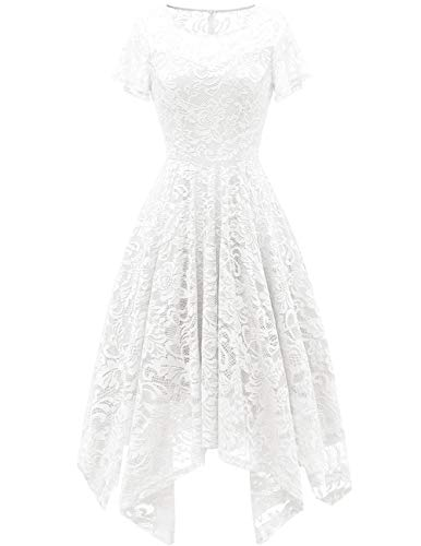 bridesmay Damen Elegant Spitzenkleid Rundhals Unregelmässig Zipfel Kleid Abendkleid Cocktailkleider White L