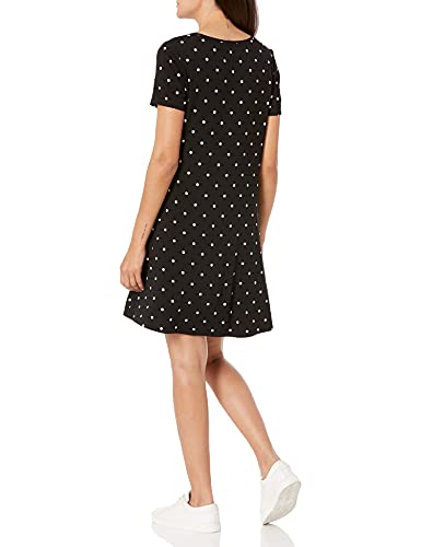 Amazon Essentials Short-Sleeve V-Neck Swing Dress Vestido, Negro, Lunares, L