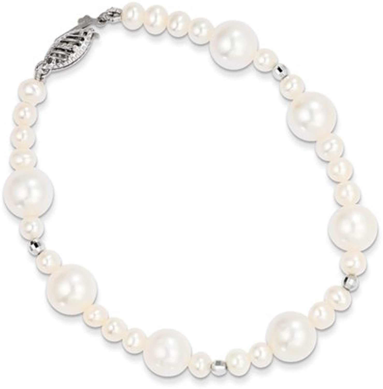 gold and Watches 14K White gold 8.59mm FWC Pearl W Mirror Bead Bracelet