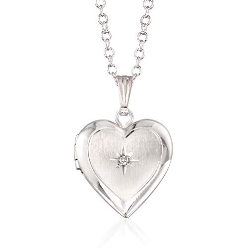 Ross-Simons Child's Diamond Accent Heart Locket Necklace in Sterling Silver