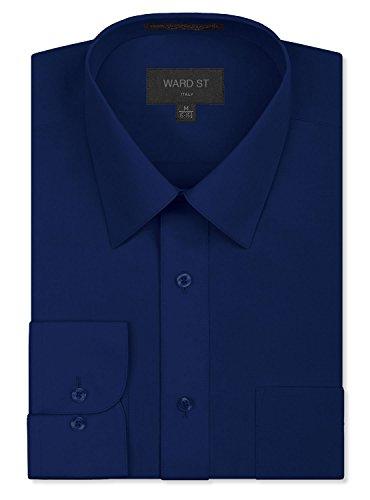 Ward St Men's Regular Fit Dress Shirts, 2XL, 18-18.5N 36/37S, Navy