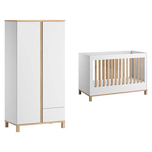 Lit bébé 60x120 et Armoire 2 portes Altitude - Blanc