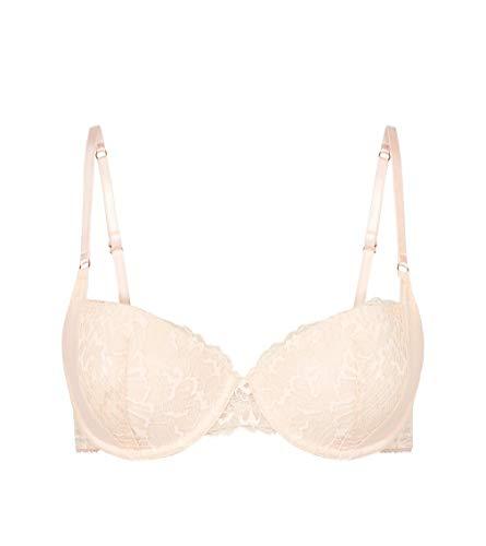 Heidi Klum Intimates Women's Lace Underwire Plunge Bra - Ladies Sexy Lingerie - Christina Day Scallop Shell Pink, 34DD