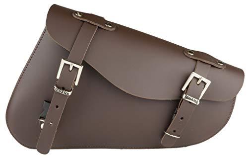 Iguana Custom - Alforja Cuero marrón para basculante con Cierres rápidos y...