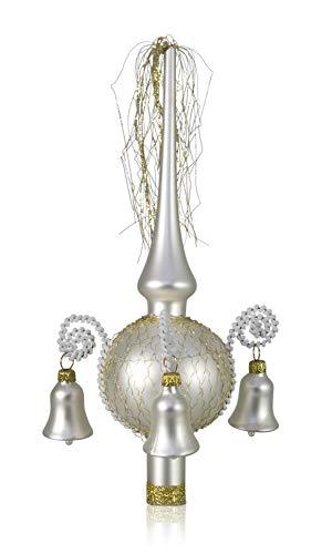 Lauschaer Glas Weihnachtsbaumspitze mit Glöckchen weiß matt, umsponnen L ca. 28cm d(Kugel) 7cm Christbaumschmuckspitze mundgeblasen,handdekoriert,Leonischer Draht