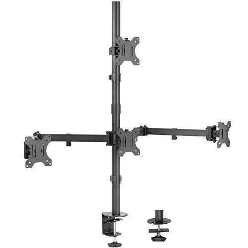 VIVO Quad - Soporte de computadora para monitor LCD de 13 a 24 pulgadas, 3 más 1 visualización articulada, capacidad para 4 pantallas, VESA hasta 100 x 100 mm (STAND-V104C)