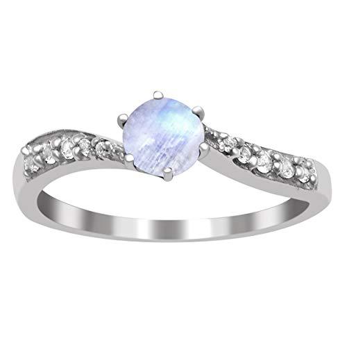 Shine Jewel Delicado Anillo de declaración apilable de Plata esterlina 925 con Piedra Lunar de 0,75 Ctw (14)