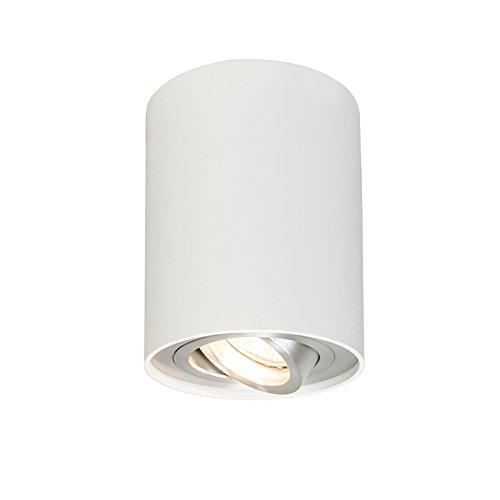 QAZQA Design/Modern Set aus 4 Spots weiß schwenk- und kippbar - Rondoo 1 up/Innenbeleuchtung/Wohnzimmerlampe/Schlafzimmer/Küche Aluminium Zylinder LED geeignet GU10 Max. 1 x 50 Watt