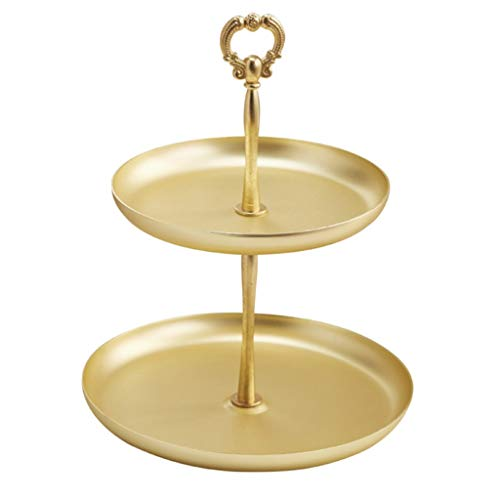 XYZMDJ Bandeja de almacenamiento de doble capa de oro nórdico Rack de joyería, tocador de porche de dormitorio Cosmetic almacenamiento bandeja de escritorio decoración de escritorio