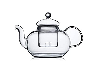 CnGlass Glass Tea Kettle Stovetop Safe,Clear Glass Teapot with Removable Infuser 1000ML(33.8 oz)