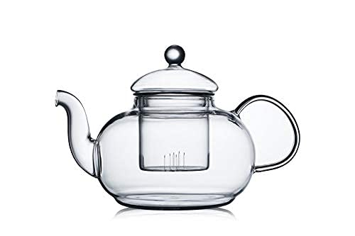 CnGlass Glass Teapot Stovetop Safe,Clear Teapot with Removable Infuser 20.3 oz,Loose Leaf and Blooming Tea Maker