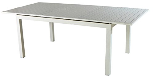 PEGANE Table en Aluminium Extensible Coloris Blanc - Dim : 200/300 x 100 cm