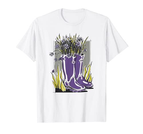 Lindo Cottagecore Vintage Flores Lavanda Rainboots Jardinero Camiseta
