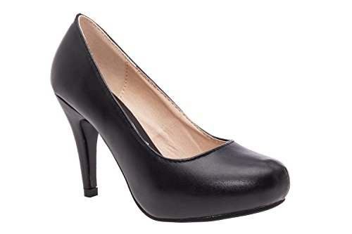 Elegante Pumps aus schwarzem Lederimitat für Damen und Mädchen mit 9,0 cm Absatz, Plateau und runder Spitze – Hohe Schuhe/High-Heels – AM293 –Größe EU 32
