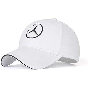 Funsport White Baseball Hat Adjustable Car Logo Cap,Unisex Hat Travel Cap Car Racing Motor Cap for Car Accesssories