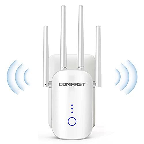 GAOAG Repetidor WiFi 1200Mbps Banda Dual 2.4GHz y 5GHz, Amplificador Señal WiFi Extensor de Red WiFi con Ap/Repeater/Router Modos, 4 Antenas, Puerto LAN/WAN
