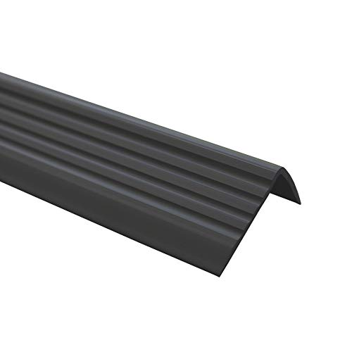 Treppenkantenprofil Selbstklebend PVC Kunststoff Antirutsch-Profil Winkelprofil 40x25, Schwarz, 165cm