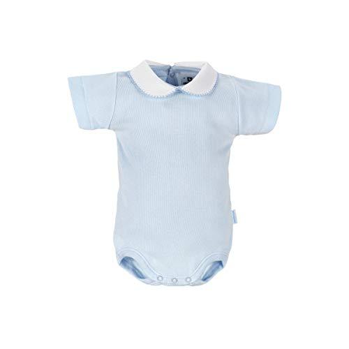 Cambrass – Body à Manches Courtes pour bébé Unisexe Blanc avec Collier - Bleu - 6-12 Mois