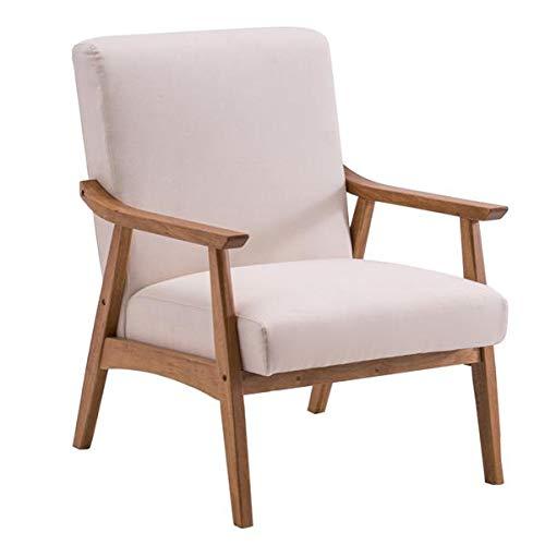 Sillón moderno de tela sofá de lectura con respaldo de madera de un solo asiento balcón salón para sala de estar dormitorio oficina (67 x 72,5 x 82 cm) beige