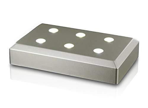 VIP-LASER Leuchtsockel Silber 6 LEDs für Querformat-Glaskristalle