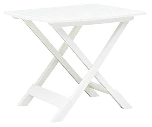 Tomaino Tavolo da Giardino Pieghevole in plastica Effetto Legno 79x72x70 (Bianco)
