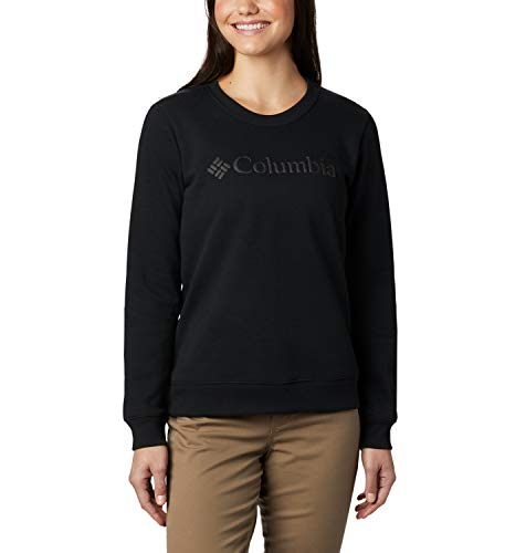 Columbia Suéter con Cuello Redondo con Logo, Mujer, Negro, XL