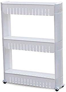 رف تخزين بثلاث طبقات للحمام أو المطبخ مع عجلات