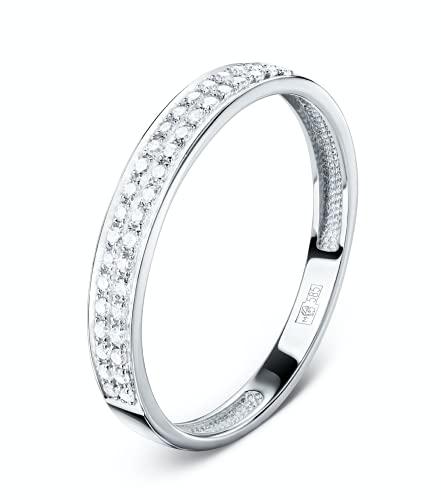 Anillo de diamante para mujer, oro blanco de 14 quilates (585), 40 diamantes de 0,124 ct., Metal precioso. Piedras preciosas.,
