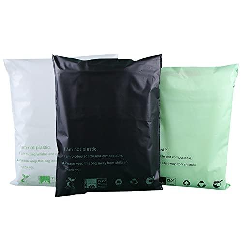 Bolsas de envío compostables 100% biodegradables, bolsas postales de mensajería con bolsas autoselladas, 100 unidades (tamaño personalizado), color negro, 24,5 x 39,8 cm, paquete de 100 unidad