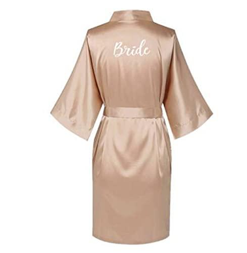 IAMZHL Batas de Seda Satinada de Talla Grande para Boda, Bata de baño para Dama de Honor, Vestido de Mujer, Ropa de Dormir, Dama de Honor, Oro Rosa-a38-XL