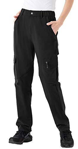 Rdruko Women's Hiking Pants Water-Resistant Quick Dry UPF 50 Travel Camping Work Pants Zipper Pockets Black Medium