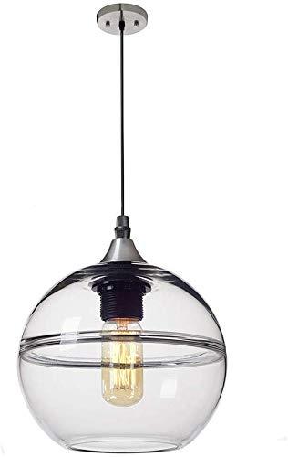 lampara colgante,Lámpara colgante esférica vidrio, luz de techo pantalla color de revestimiento 3D, lámpara colgante nebulosa creativa para sala estar, dormitorio,cocina,isla,transparente, 30cm