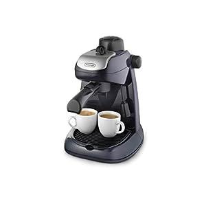 De'longhi EC7 – Cafetera hidropresión, 800 w, variedad cafés, 2 tazas, tapa seguridad, sistema capuccino, negro y plata