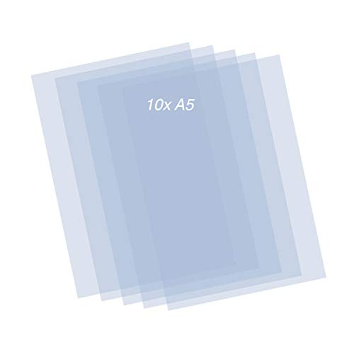 QBIX Mylar-Blätter - 10 Stück Kunststoff-Schablonenblätter - 0,2 mm transparente A5-Blätter - DIY-Schablonenkunstblatt zum Schneiden von DIY-Schablonen