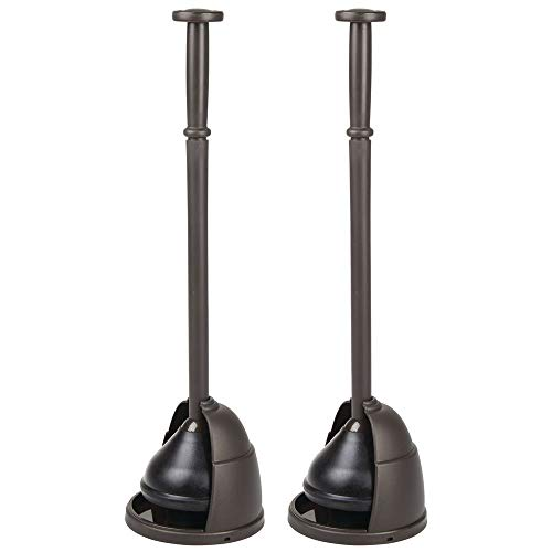 mDesign Plastic Toilet Bowl Plunger Set  with Drip Tray Compact Discreet Freestanding Bathroom Storage Organization Caddy with Base Sleek Modern Design  Heavy Duty 2 Pack  Bronze
