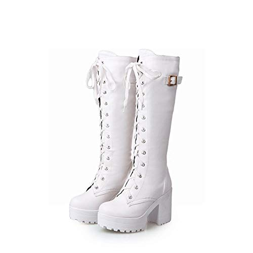 Botas De Mujer - Botas De Tacón Alto Antideslizantes Otoño/Invierno/Botas Calientes Retro Moda 36-43,Blanco,36