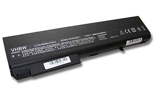 vhbw Batería de Recambio Negra para Notebook, portátil HP Compaq 6720t, 8500, 8510p, 8510w, 8700, 8710p, 8710w, NW9440 (6600mAh, 14.8V, Li-Ion)
