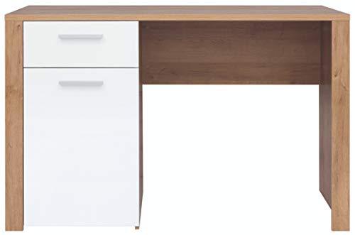 Boardd - Mesa de ordenador para ordenador de mesa con compartimento de almacenamiento, color roble/blanco brillante, 120 x 77 x 56 cm