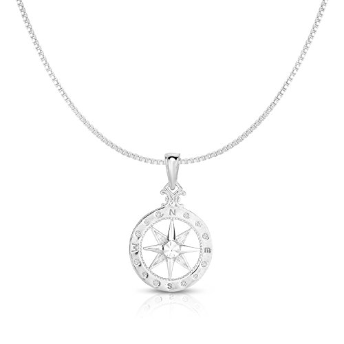 Unique Royal Jewelry 925 Solid Sterling Silver Small Compass Rose Pendant and Necklace. (20