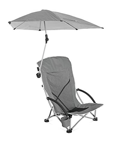 Sport-Brella Beach Chair with UPF 50+ Adjustable Umbrella, Grey