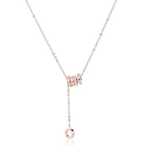 Kercisbeauty Rose gouden ring ketting voor vrouwen dames Romeinse cijfers hanger ketting met strass steentjes cadeau haar ketting partij sieraden