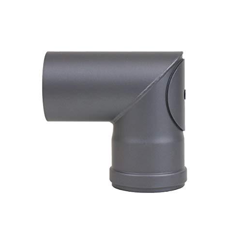 LANZZAS pellepijp puntboog 90° met reinigingssluiting, diameter DN Ø 80 mm, in zwart metallic en gietijzeren grijs, pelletboog, kachelpijp boog, voor pelletkachels modern gietijzer.