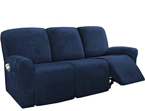 BANNAB Fundas elásticas para sillón reclinable para 3 plazas, Funda elástica para Muebles de sofá, Forma Ajustada, Elegante, Protector de Funda para sillón reclinable, Azul