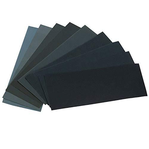 24PCS Sand Paper Variety Pack Sandpaper 12 Grits Assorted for Wood Metal Sanding, Wet Dry Sandpaper 120/150/180/240/320/400/600/800/1000/1500/2500/3000 Grit