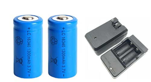1300mAh 3.7V Li-ion Rechargeable 16340 Batteries CR123A Battery for Flashlight Travel Wall Charger for 16340 CR123A Battery-Gold