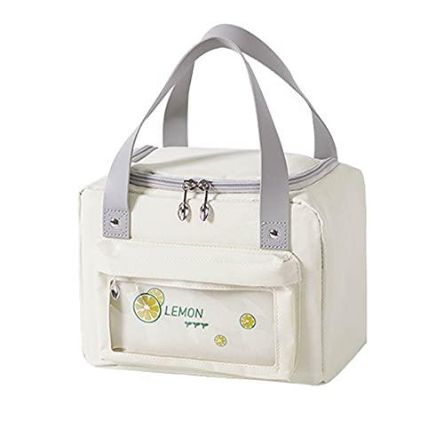 Nenka Bolsa isotérmica de 5,5 L/3 l, para el almuerzo, bolsa térmica para el transporte de alimentos (blanco pequeño)