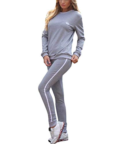 Minetom Damen Mode Streifen Trainingsanzug Frauen Lange Ärmel Zipper Top + Lange Hose Sportswear 2 Stück Set Sport Yoga Outfit Grau DE 34