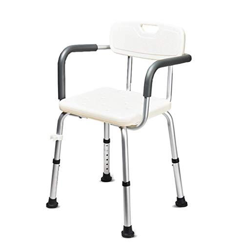 YHtech Silla de Ducha de Ancianos Mujer Embarazada Baño Taburete Aluminio Baño Discapacidad Baño Silla Respaldo y apoyabrazos Sillas de baño Blanco